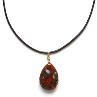 Every Morning Design Red Jasper Drop and Leather Necklace