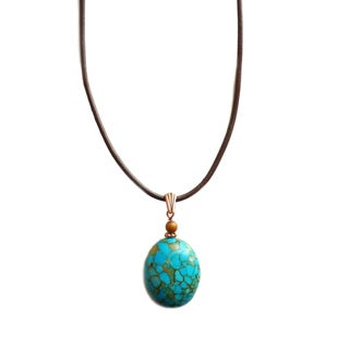 Every Morning Design Mosaic Turquoise and Brown Leather Necklace