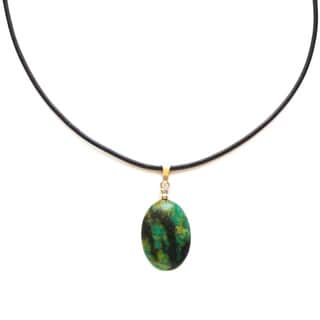 Every Morning Design Green Jasper Drop and Leather Necklace