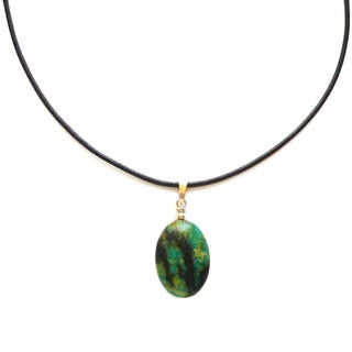 Every Morning Design Green Jasper Pendant and Leather Necklace