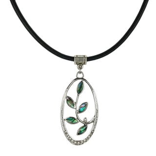 Jewelry by Dawn Oval Pewter Abalone and Greek Leather Necklace