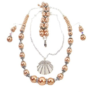 Jewelry and Rosaries 24-inch Beige Pearl Wedding Jewelry Set
