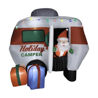 Animated 6.5-foot Airblown Santa In Holiday Camper Seasonal Decor