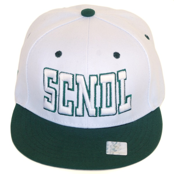 CYL Apparel 'SCNDL' White and Green Snap-back Hat