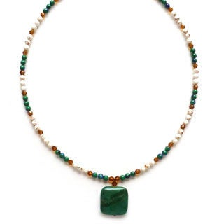 Every Morning Design Green Jade and Azure Malachite Necklace