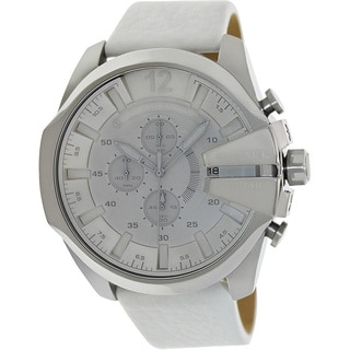 Diesel Men's White Leather-strap Water-resistant Quartz Watch