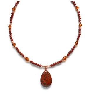 Every Morning Design Red Jasper Drop On Amber Glass and Copper Necklace