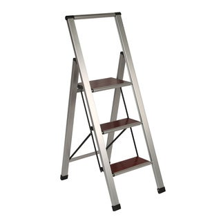 Richards Homewares 3-step Brushed Aluminum/ Wood Step Ladder