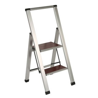Richards Homewares 2-step Brushed Aluminum/ Wood Step Ladder
