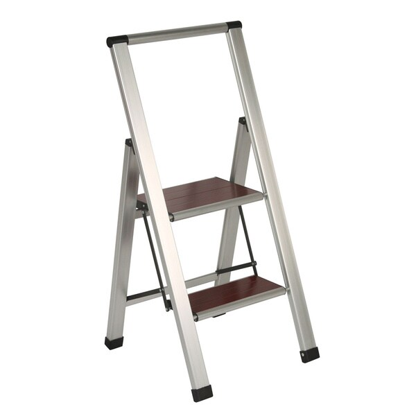 Richards Homewares 2-step Brushed Aluminum/ Wood Step Ladder