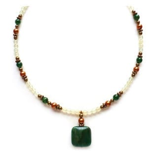Every Morning Design Green Jade and Pearl Necklace