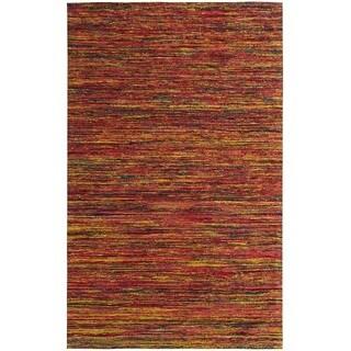 Hand-tufted Loft Varigated Stripe Multi/ Red Rug (5' x 8')