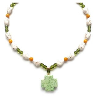 Every Morning Design Green Turquoise Cross and Olivine Necklace