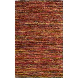 Hand-tufted Loft Varigated Stripe Multi/ Red Rug (4' x 6')