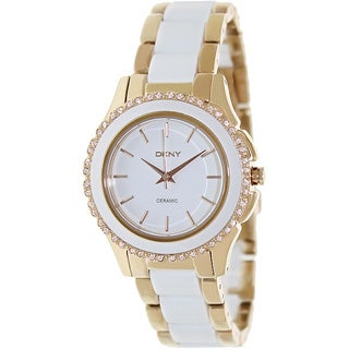 DKNY Women's NY8821 Two-Tone Ceramic Rose Gold Watch