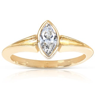 Annello 10k Gold Certified 1/2 ct Bezel Set Marquise Diamond Ring (G, VS2)