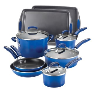 Rachael Ray Blue Gradient 12-piece Hard Enamel Cookware/ Bakeware Set