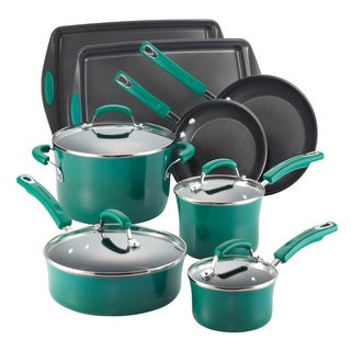 Rachael Ray Hard Enamel 12-piece Dark Green Gradient Cookware Set with Bakeware with $20 Mail-in Rebate