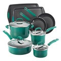 Rachael Ray Hard Enamel 12-piece Dark Green Gradient Cookware Set with Bakeware