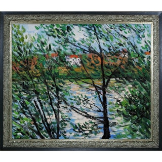 Claude Monet 'Springtime Through the Branches' Hand-painted Framed Canvas Art