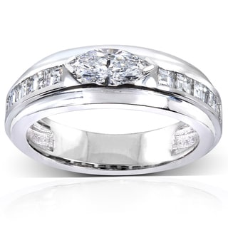 Annello 10k White Gold 1 1/10 ct TDW Marquise Diamond Ring (E-F, VS2)