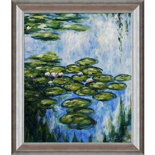 Claude Monet 'Water Lilies' Hand-painted Silver Framed Canvas Art