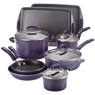 Rachael Ray Hard Enamel 12-piece Purple Gradient Cookware Set with Bakeware