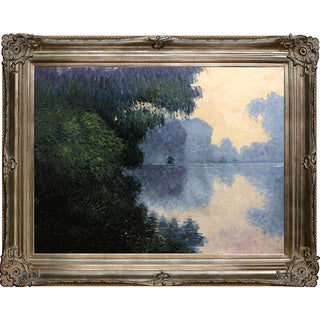 Claude Monet 'Morning on the Seine near Giverny' Hand Painted Framed Canvas Art