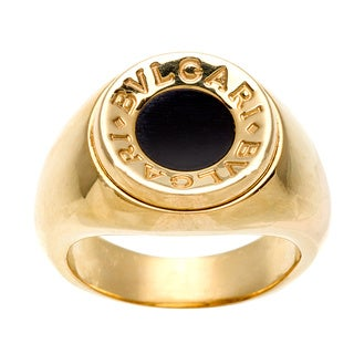 Bulgari 18k Yellow Gold Onyx Ring
