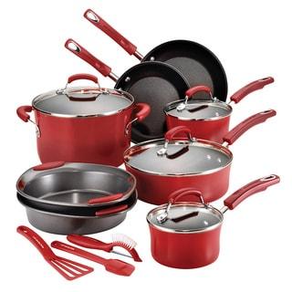 Rachael Ray Hard Enamel 15-piece Red Cookware Set