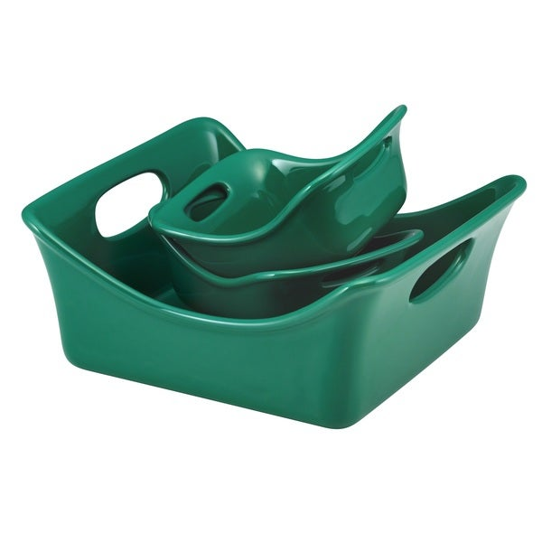 Rachael Ray Stoneware 3-piece Dark Green Square Baker and Au Gratin Bubble & Brown Set 11794618