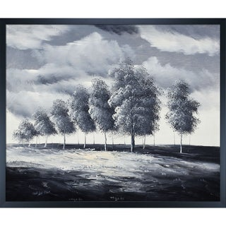 'Grey Afternoon' Hand Painted Framed Canvas Art