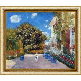 Claude Monet 'La Casa Della Artista' Hand Painted Framed Canvas Art