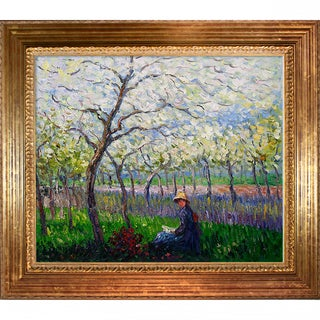 Claude Monet 'An Orchard in Spring' Hand Painted Framed Canvas Art