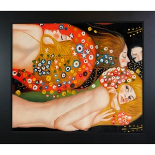 Gustav Klimt 'Water Serpents II' Hand Painted Framed Canvas Art