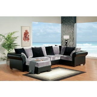 Furniture of America Modern 6-piece Interchangeable Grey/ Black Leatherette Sectional