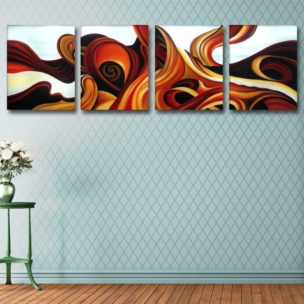 'Blue & Browns' Abstract Oil Paint on Canvas (4 Piece) 11794772