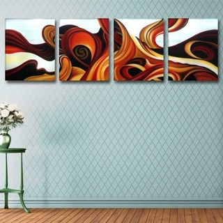 'Blue & Browns' Abstract Oil Paint on Canvas (4 Piece)