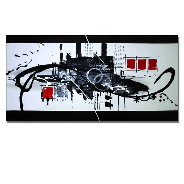 'Black & White & Red Abstract' Hand Painted Canvas Art 11794775
