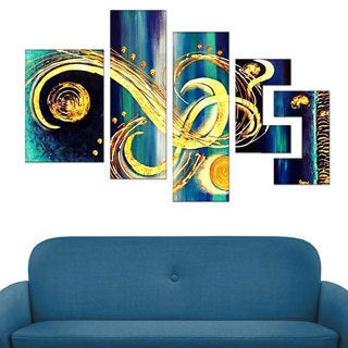 'Abstract Blue Swirls' Hand Painted Canvas (5 Piece)
