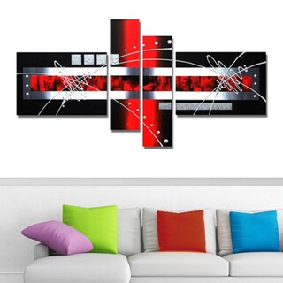 'Red Geometry Abstract' Hand Painted Canvas Art (4 piece) 11794780