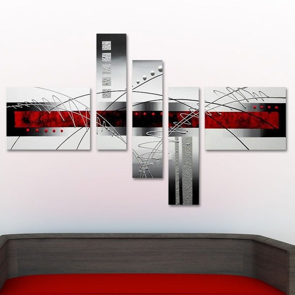 Abstract Grey Amp Red Hand Painted Canvas Art 5 Pieces