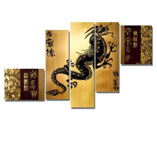 'Golden Dragon' Hand Painted Canvas Art (5 Piece)