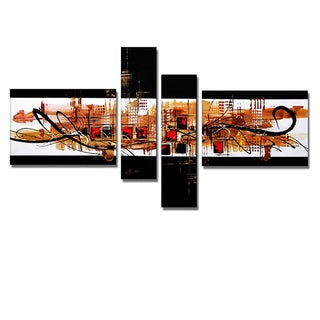 'Abstract Squares' Hand Painted Canvas Art (4 Piece)