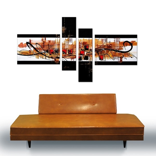 'Abstract Squares' Hand Painted Canvas Art (4 Piece) 11794790