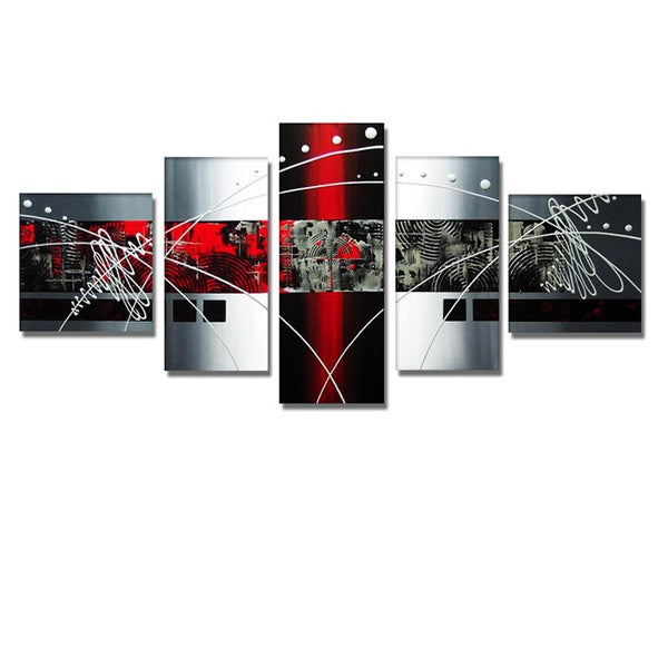 'Abstract Red Expression' Hand Painted Canvas Art (4 Piece) 11794791