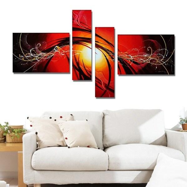 'Abstract Orange Sun' Hand Painted Canvas Art (4 Piece) 11794792