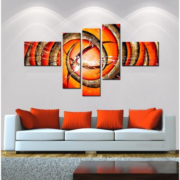 'Abstract Orange Swirl' Hand Painted Canvas Art (5 Piece) 11794795