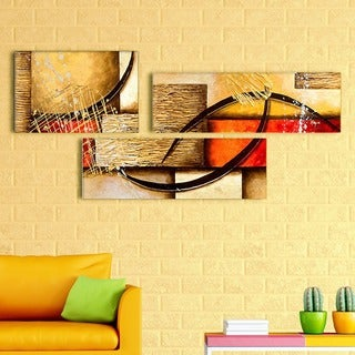 'Neutral Colors Abstract' Hand Painted Canvas Art (3 Piece)