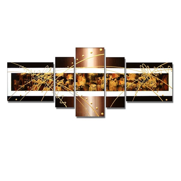 'Brown & Gold Abstract' Hand Painted Canvas Art (5 Piece) 11794797